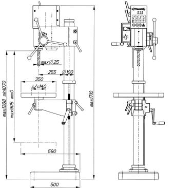Dimensions of the Strands S-25 drill press