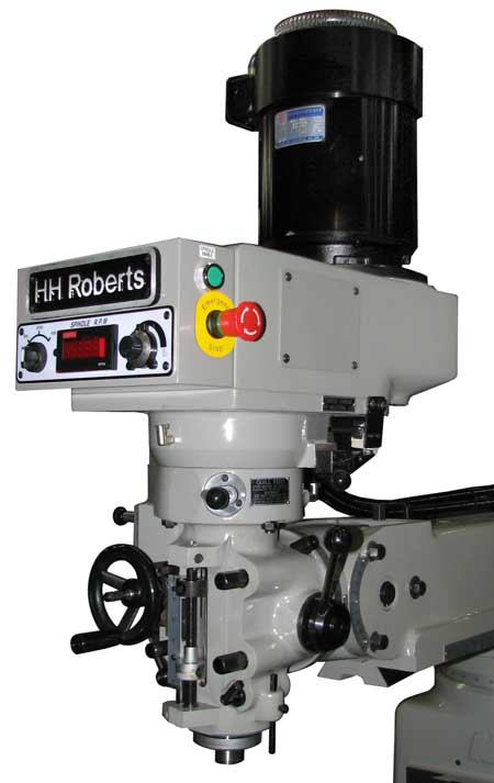 Showing the HH Roberts replacement milling head on a old Bridgeport milling machine